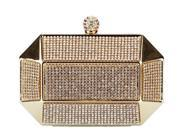 Chicastic Gold Rhinestone Stud Octagon Clutch Evening Bag