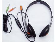 Double plug computer headphones/headset microphone