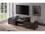 Baxton Studio Madeline 59-Inch Modern and Contemporary Dark Brown Entertainment Center TV Stand with Two Drawers
