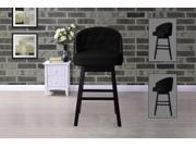 Baxton Studio Avril Modern and Contemporary Black Faux Leather Tufted Swivel Barstool with Nail heads Trim