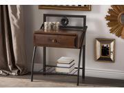 Baxton Studio Jevenci Vintage Antique Dark Bronze Metal and Walnut Wood 1-drawer Nightstand
