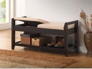 Baxton Studio Maudie Modern and Contemporary Dark Brown Wooden Shoe Storage Seating Bench With Taupe Fabric Cushion