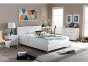 Barbara White Modern Bed with Crystal Button Tufting (Queen Size)