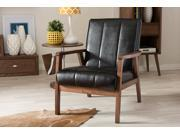 Baxton Studio Nikko Mid-century Modern Scandinavian Style Black Faux Leather Wooden Lounge Chair