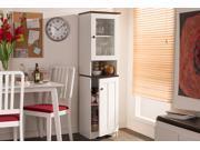 Baxton Studio Lauren Modern and Contemporary Two-tone White and Dark Brown Buffet and Hutch Kitchen Cabinet