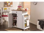 Baxton Studio Balmore Modern and Contemporary Two tone White and Dark Brown Lacquered Wood Kitchen Cart Trolley Cabinet