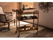 Baxton Studio Rodolfo Vintage Industrial Style Antique Copper Wood and Iron Metal Wheeled Bar Cart