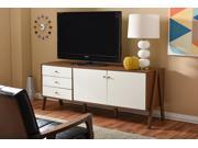 Baxton Studio Harlow Mid-century Modern Scandinavian Style White and Walnut Wood Sideboard Storage Cabinet