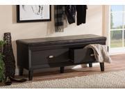 Baxton Studio Emmett Modern and Contemporary 2-drawer Dark Brown Wood Entryway Storage Cushioned Bench Shoe Rack Cabinet Organizer