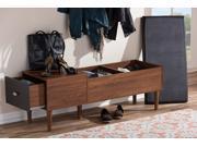Baxton Studio Merrick Mid-century Retro Modern 1-drawer 2-tone Oak and Dark Brown Wood Entryway Storage Cushioned Bench Shoe Rack Cabinet Organizer