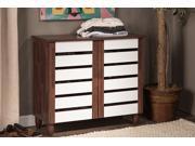 Baxton Studio Gisela Oak and White 2-tone Shoe Cabinet With 2 Doors