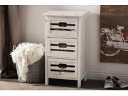 Baxton Studio Rococo Chic Vintage Pine Wood Antique White Washed Finishing 3-Drawers Storage Cabinet