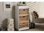 Baxton Studio Rochefort British Colonial Classical Country Style White and Natural Finished 3-Drawer Storage Cabinet