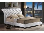 Baxton Studio Jazmin Tufted White Modern Bed with Upholstered Headboard - Queen Size