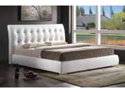 Baxton Studio Jeslyn White Modern Bed with Tufted Headboard - Queen Size