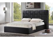 Baxton Studio Prenetta Black Modern Bed with Upholstered Headboard - Queen Size
