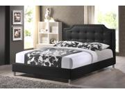 Carlotta Black Modern Bed with Upholstered Headboard - King Size