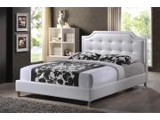 Carlotta White Modern Bed with Upholstered Headboard - Full Size