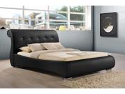 Baxton Studio Pergamena Black Leather Contemporary King-Size Bed