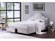 Baxton Studio  Brisbane Light Beige Queen Modern Fabric Storage Platform Bed with 2 Drawers