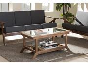 "Baxton Studio Cayla Mid-Century Modern ""Walnut"" Brown Wood Living Room Glass-Top Coffee Table"