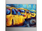 Hand Painted Oil Painting Abstract Cartoon Green Car with Stretched Frame Ready to Hang