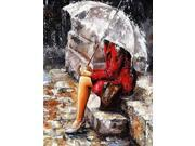 Frameless Diy Oil Painting Hand Painted by Number Kit- A Waiting Woman 9SIA4EW6E74502