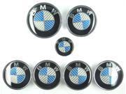 7 Pcs Real Carbon Fiber Blue Silver Emblem Badge Set Car Logo For BMW 73mm 82mm