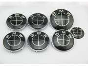 BMW Black Emblem Logo Badge Set 73mm 82mm 7pcs Set