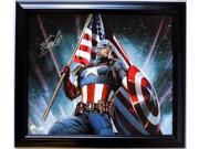 Stan Lee Marvel Comics Signed Framed 28x24 Captain America Canvas JSA+Lee Holo 9SIA4F03JP5399