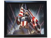 Stan Lee Marvel Comics Signed Framed 27x31 Captain America Flag Canvas Lee Holo 9SIA4F04C17075