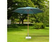 Outsunny f9' x 8' H Wooden Round Market Patio Sun Umbrella Garden Parasol Outdoor Sunshade Canopy (Green)
