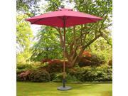 Outsunny f8.2' x 7.4' H Bamboo Wooden Round Market Patio Sun Umbrella Garden Parasol Outdoor Sunshade Canopy, Wine Red