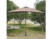 Outsunny 7'x10' Wooden Rectangle Market Patio Sun Umbrella Garden Parasol Outdoor Sunshade Canopy (Coffee)
