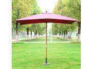 Outsunny 7'x10' Wooden Rectangle Market Patio Sun Umbrella Garden Parasol Outdoor Sunshade Canopy (Wine Red)