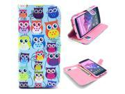Colorful Owl Pattern PU Leather Full Body Case with Stand and Card Holder for LG Nexus 5 with Screen Protector