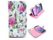 Eiffel Tower Flower Pattern PU Leather Full Body Case with Stand and Card Holder for LG Nexus 5 with Screen Protector