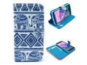 Tribal Carpet Elephant Pattern PU Leather Full Body Case with Stand and Card Holder for LG Nexus 5 with Screen Protector