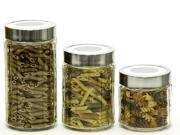 3 Pc Glass Canister Set - Candy Jar or Food Storage Container w/ Metal Air Tight Lids