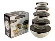5 Pc Glass Bowls w/ Black Lids - Food Storage Containers