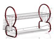 "Sleek Stainless Steel Drying Rack – 22"" Red Dish Rack or Dish Drainer w/ Drip Tray (8 Shape)"