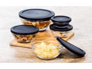 10 Pc Glass Food Storage Containers - Glass Lunch Bowls w/ Snap Tight Lids (Black)