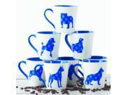 6 Pack Plaid Ceramic Coffee Mugs Set – 16 OZ Ceramic Coffee Cups Set (Blue Dog Design) 9SIA4GA64M4833