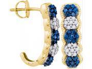 10K Yellow Gold 0.56 Ctw Diamond Fashion Hoop Earrings