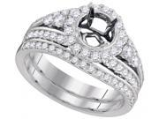 18K White Gold 0.86 Ctw Diamond Semi Mount Bridal Set Ring