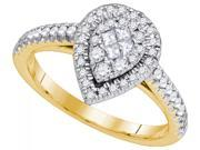 14K Yellow Gold 0.51 Ctw Diamond Monaco Fashion Ring