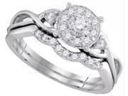 10K White Gold 0.34 Ctw Diamond Bridal Set Ring