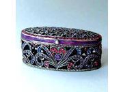 Pewter Swarovski Crystal Enameled Byzantine Keepsake Box (1 1/2 x 2 1/2) - Gift Boxed