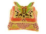 Pewter Swarovski Crystal Enameled Butterfly Keepsake Box (1 1/2 x 2 3/4) - Gift Boxed