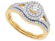 10k Yellow Gold Womens Round Diamond Concentric Halo Bridal Wedding Engagement Ring Set 1/2 Cttw (Ring Size 5)